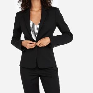 Notch Collar One Button Blazer